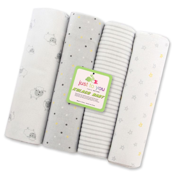 2017 New!Baby Blankets Receiving 100% Cotton Baby Swaddle Wrap 76*76 CM Newborn Bedsheet Cobertores 4Pcs/Pack Babydecke Flokati