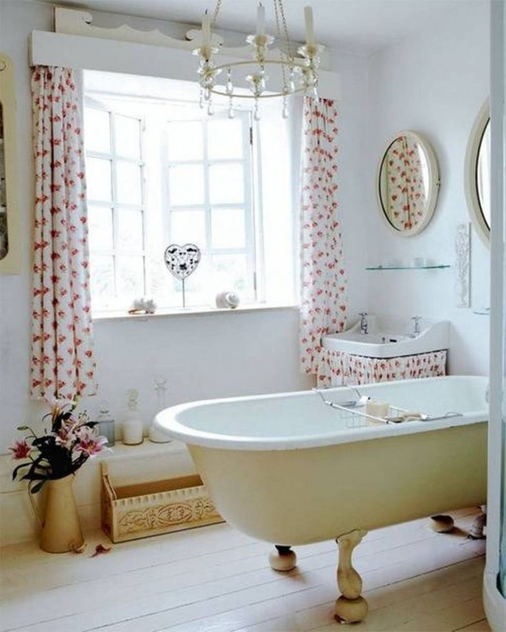 Beautiful Bathroom Window Curtains Design With White Floral Pattern Top  Ring Curtains