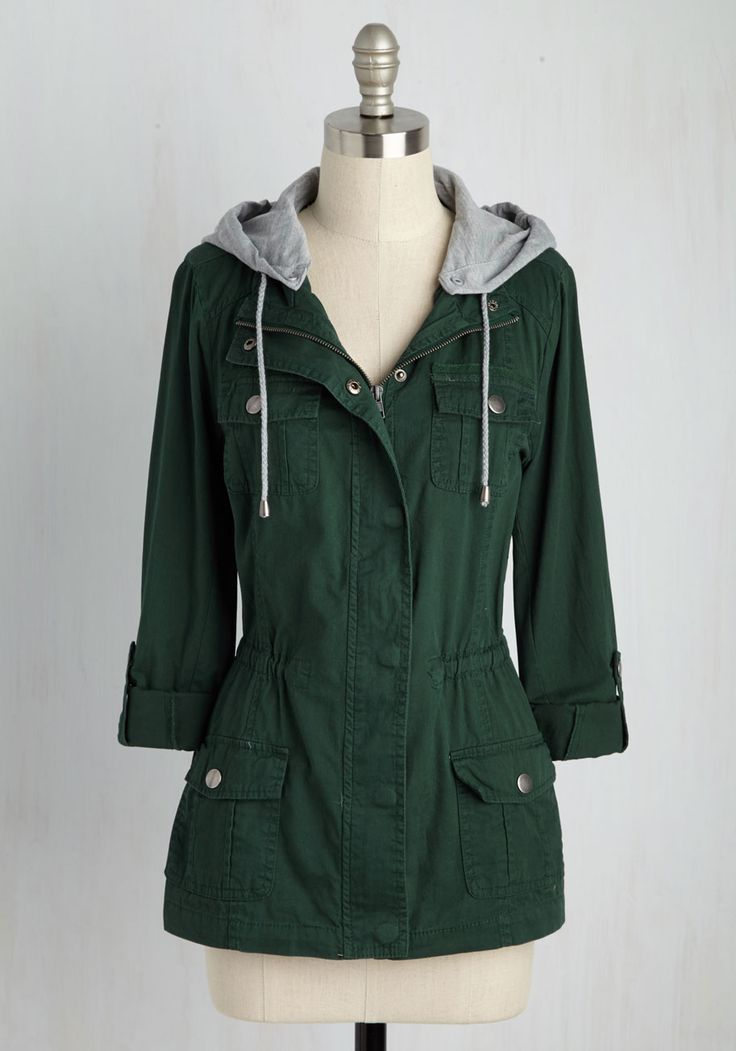 Summit Lovin' Jacket. Before you hit the trails, suit up with this forest green jacket! #green #modcloth