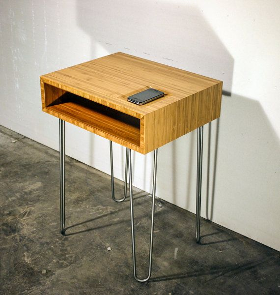 Bamboo Plywood End Table With Hairpin Legs By ConstructCNC
