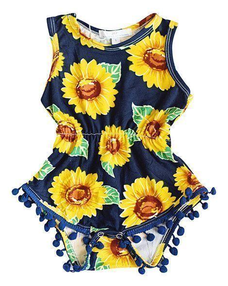 3afb3cdbe9 Sunflower Pom Pom Romper #BabyTips | Products I Love | Baby sleeping ...