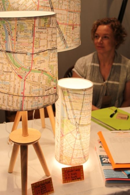Map lamps...easy update after a move...would be so cute with an El train or NYC subway map