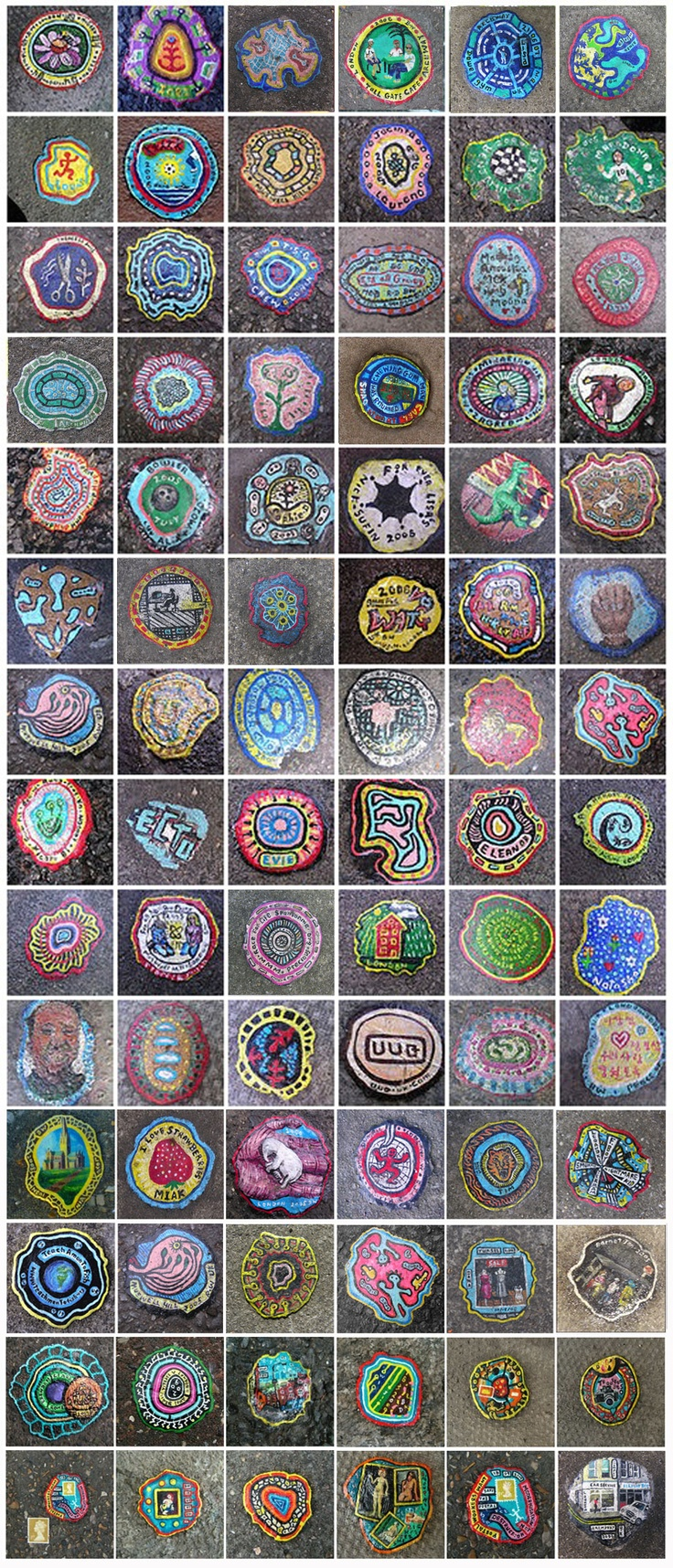 Ben Wilson, outsider artist of London, his canvas? chewing gum on the pavement. Outsider Art rules http://restreet.altervista.org/ben-wilson-dipinge-sulle-gomme-da-masticare/