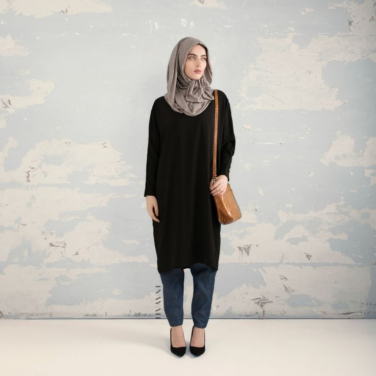 INAYAH | Black Batwing Midi #Dress + Thin Denim Crossover #Trousers + Grey Knitted #Hijab www.inayahcollection.com #modestfashion#modesty#modeststreestfashion#hijabfashion#modeststreetstyle#modestabayas#modestdresses