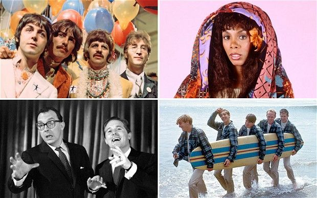 20 Best Summer Songs  || Clockwise: The Beatles, Donna Summer, The Beach Boys and Morecambe and Wise