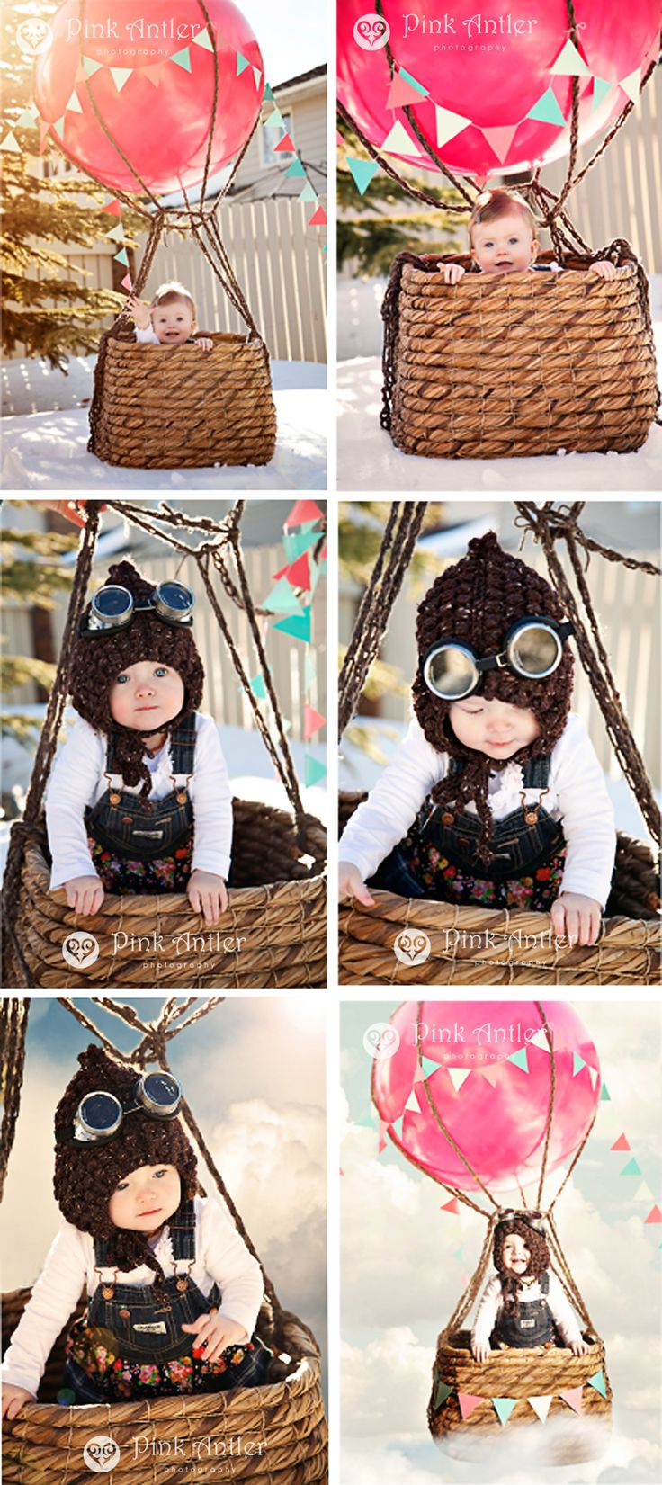 Adorable stylized hot air balloon birthday party photos by Pink Antler Photography.