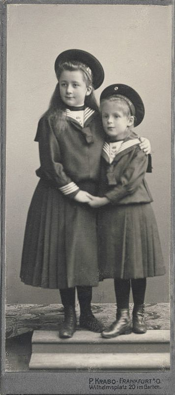 Two sisters in sailor dress, photostudio Krabo, Frankfurt, ca. 1910