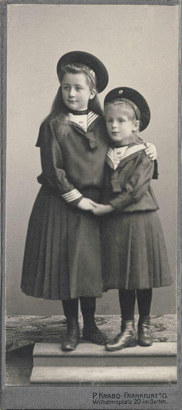 Two sisters in sailor dress, photostudio Krabo, Frankfurt, ca. 1910