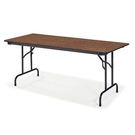 "Virco® 603060 Traditional Folding Table 30""X60"", Black With Walnut Top by VIRCO INC. $128.95. Virco 603060 Traditional Folding Table This 6000 Series folding table features a 3/4"" particleboard core with a fused-on melamine top in an attractive Walnut finish. The 60""L x 30""W top is strengthened by a steel support paron. Unlike other table aprons with sharp steel edges, this apron's patented rolled Safe Edge helps hands and fingers avoid cuts and scratches. When th..."