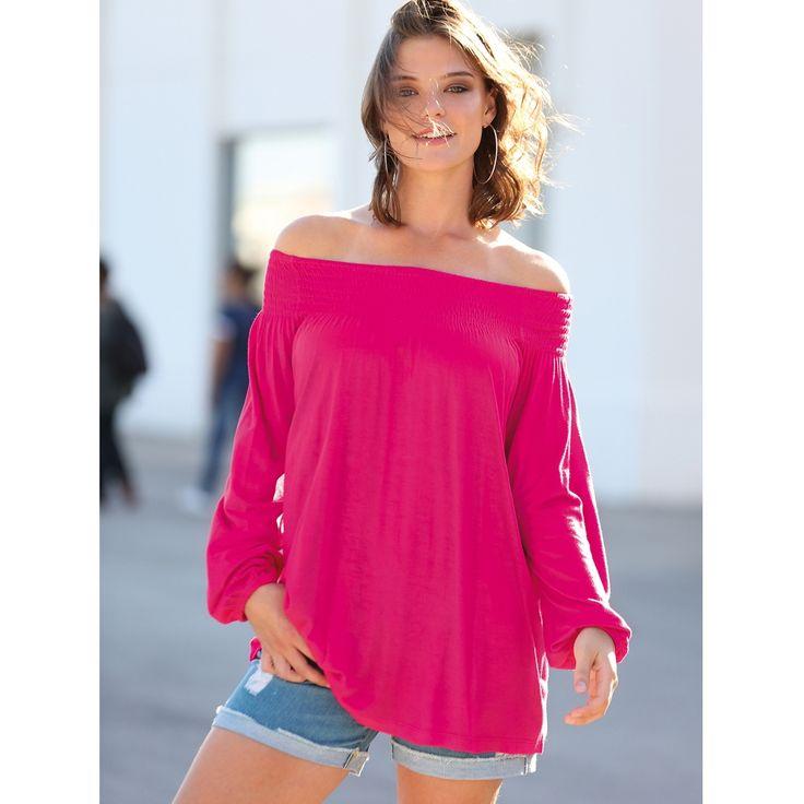 Tee-shirt Blancheporte épaules dénudées et rose gourmand. Collection Mode Blancheporte. Du 42 au 58.