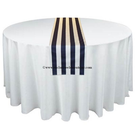 Navy Blue White Stripe Table Runner Home Decor Nautical Modern Wedding Table  Centerpiece Reception Decoration Linens Fabric