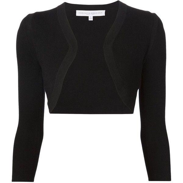 Carolina Herrera fine knit bolero (1,400,155 KRW) ❤ liked on Polyvore featuring outerwear, jackets, black, black bolero, carolina herrera, black jacket, bolero jacket and carolina herrera jacket