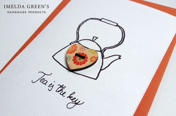 a piece of my tea-themed greeting card set with wooden buttons