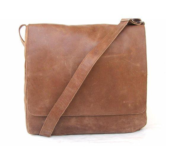 Messanger Bag laptop bag for Men  Brown Leather  by abizema