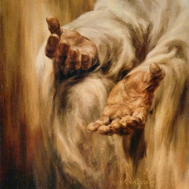 """His mercy endureth forever, and His hand is stretched out still. His is the pure love of Christ, the charity that never faileth, that compassion which endures even when all other strength disappears."" —Jeffrey R. Holland (Painting by J. Reed) #LDS #Mormon"