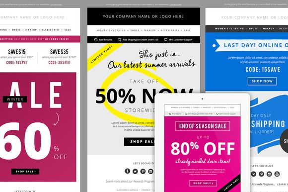4 Sales E-mail Newsletter Templates by JannaLynnCreative on Creative Market