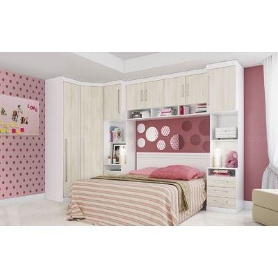 Quarto de Casal Modulado Classic Branco/Damasco - Incolar R$3690.95