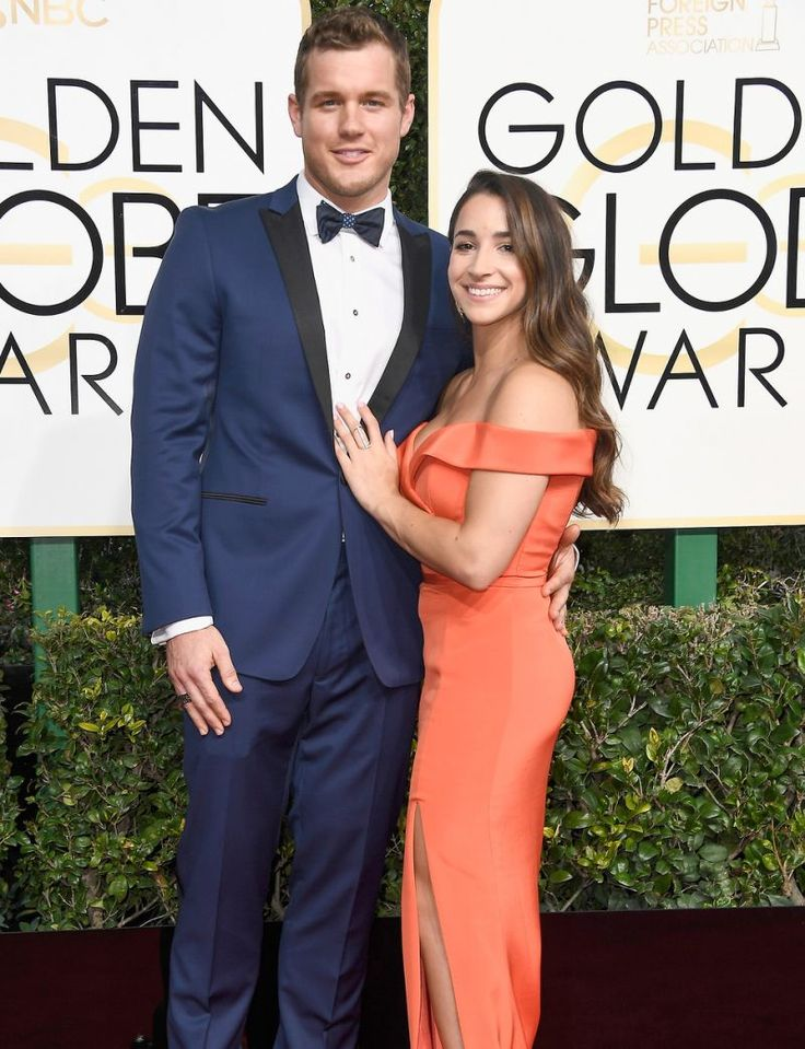 Aly Raisman and her boyfriend, NFL tight end Colton Underwood, took their under-the-radar romance onto the world stage at the Golden Globe Awards Sunday night. Underwood, 24, choose a blue tuxedo with a bow tie for the date night. Raisman's Final Five teammates Simone Biles and Madison Kocian were
