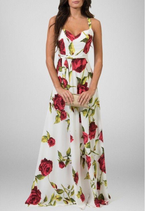 Vestido longo fluido estampa rosas Powerlook - powerlook-V-MOB