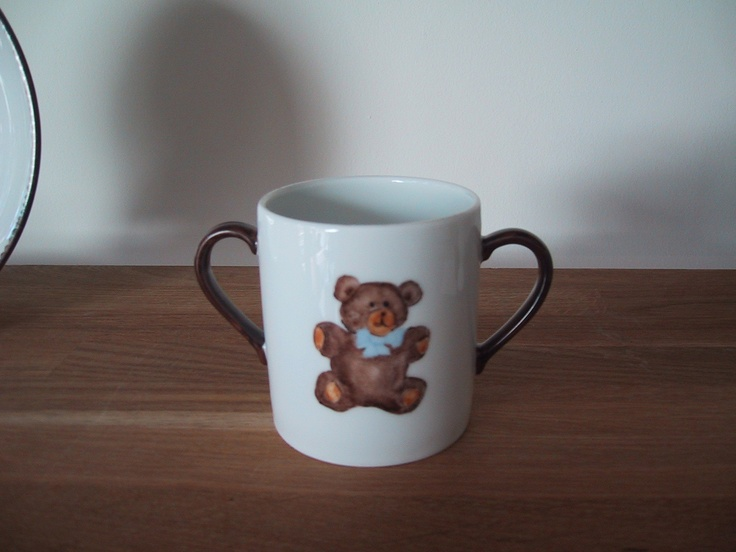 teddy bear hand painted mug teddy bear collection, designer Patricia Deroubaix, hand painted in Limoges porcelain. cereal bowl/ all shapes on special orders