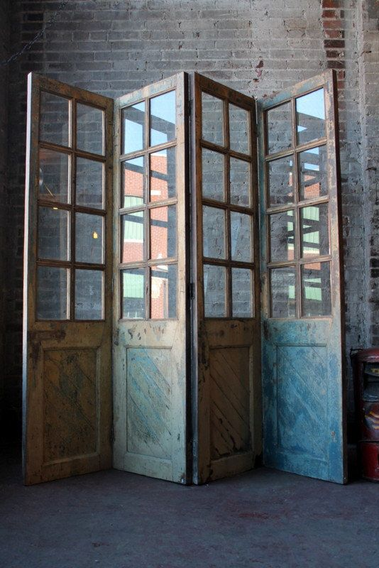 4 Panel Reclaimed Door Screen Wood and Glass Room Divider Screen King Headboard Vintage Indian Door Panels Acid Washed Furniture