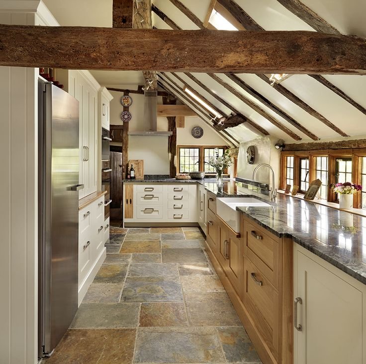 Long sloping roof and cute little windows. Harvey Jones Classic Shaker kitchen