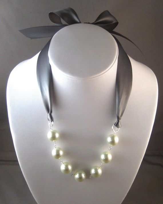 Pearl and Ribbon Necklace  Ivory and Pewter by CarlenaDesigns, $26.00