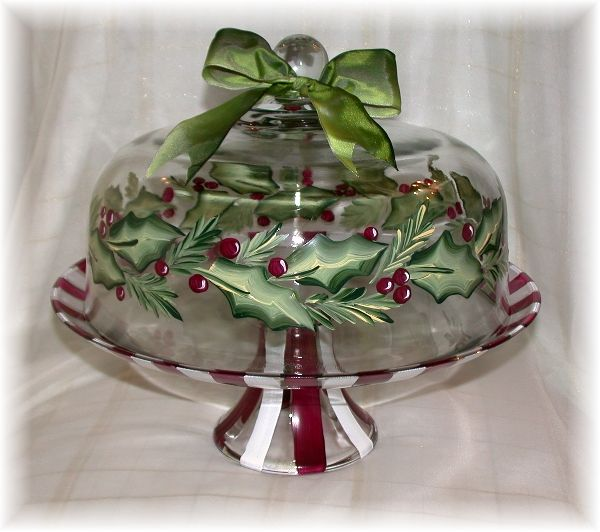 Oh my goodness!  Tons of beautiful Donna Dewberry One Stroke glass Cake plates with domes!