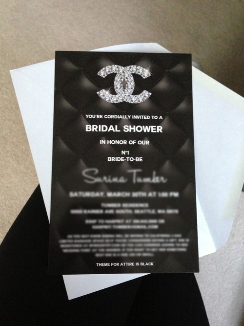 52 best chanel themed bridal shower images on pinterest chanel chanel themed bridal shower invitation filmwisefo