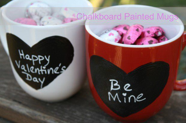 Chalkboard Painted Mugs.....Unique DIY Gifts for Valentines day....#gift #valentine #holiday #celebration #romantic #handmade