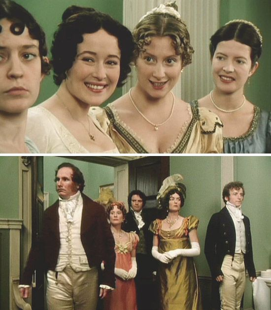 """Pride and Prejudice. (1995) Starring: Lucy Briers as Mary Bennet, Jennifer Ehle as Elizabeth Bennet, Susannah Harker as Jane Bennet, Lucy Scott as Charlotte Lucas, and below; Rupert Cansittart as Mr. Hurst, Lucy Robinson as Mrs. Hurst, Colin Firth as Mr. Darcy, Anna Chancellor as Miss Bingley and Crispin Bonham-Carter as Mr. Bingley. - """"Better pleased with themselves than what they see, I think."""" ~ Elizabeth Bennet."""