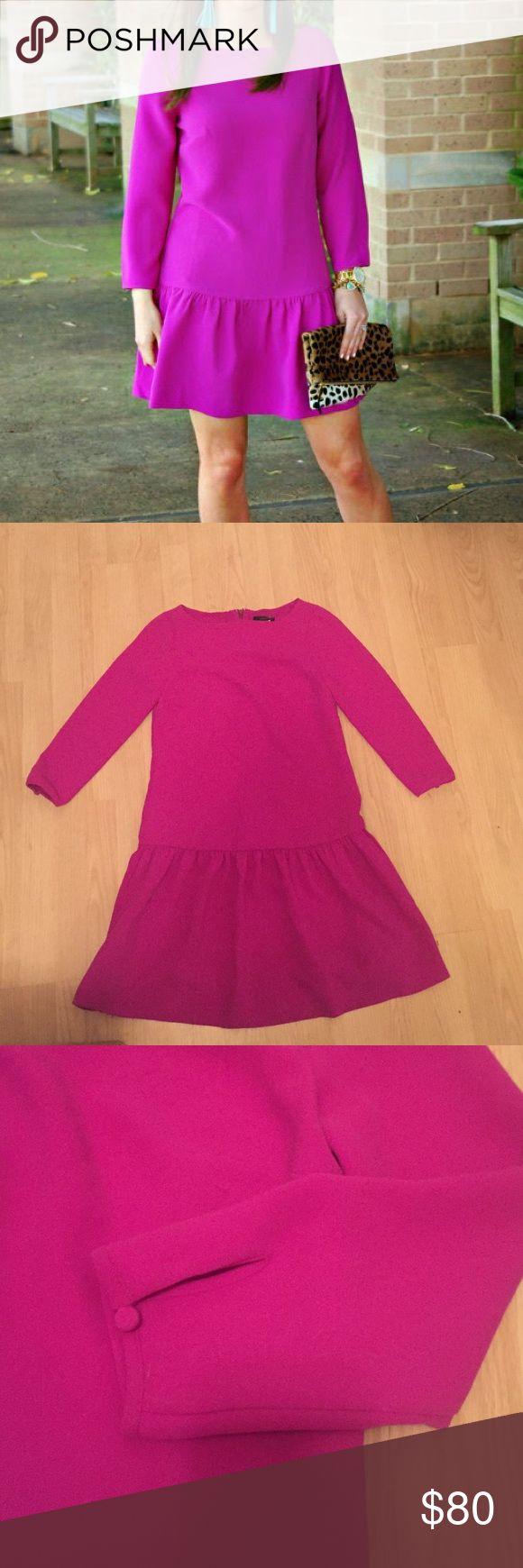 ‼️SALE J crew Pink Fuchsia drop waist dress NWT Great new j crew dress. 3/4 sleeves with button. Hidden back zipper. Great with boots for fall! J. Crew Dresses Mini