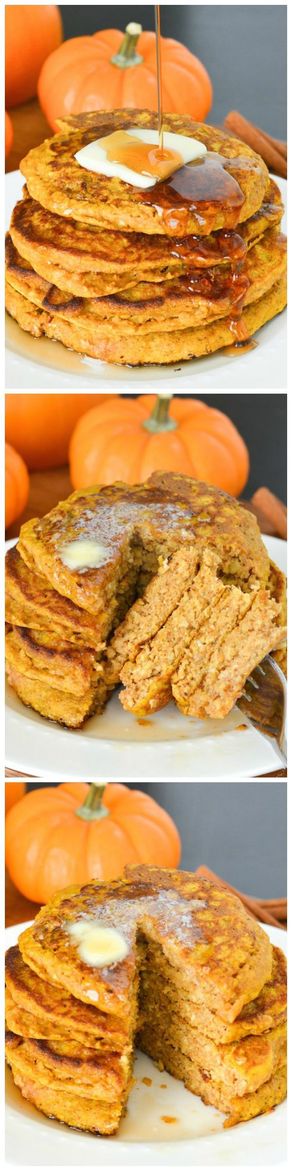Pumpkin Oatmeal Pancakes - These hearty pancakes are packed with pumpkin, oatmeal and whole wheat. They'll keep you full throughout these chilly fall mornings!