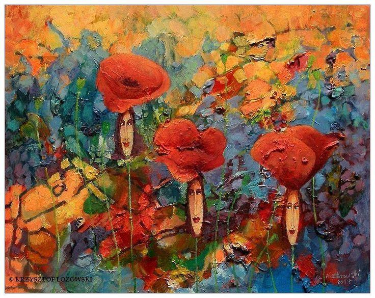 Poppies Ladies / Maki acrylic on canvas 50x40cm Krzysztof Lozowski   eBay