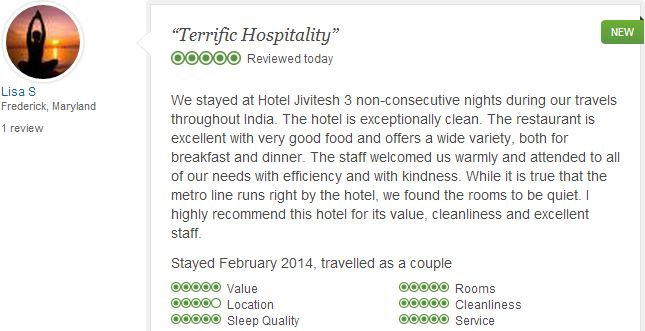 #jivitesh: Ms. Lisa Stadler from Frederick, Maryaland who stayed in our hotel in February 2014 in room no. 110,304 & 312 reviewed our Hotel with Excellent Rating on Tripadvisor.com.