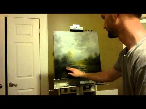 Quick Oil Painting Demo by Ryan Herrin- Paintings By Night Landscape Painting - YouTube