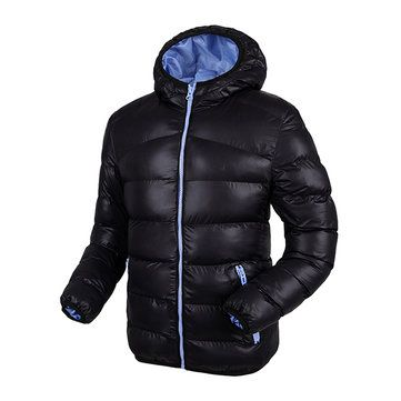 Plus Size Winter Casual Sport Solid Color Thicken Warm Hooded Padded Jacket for Men