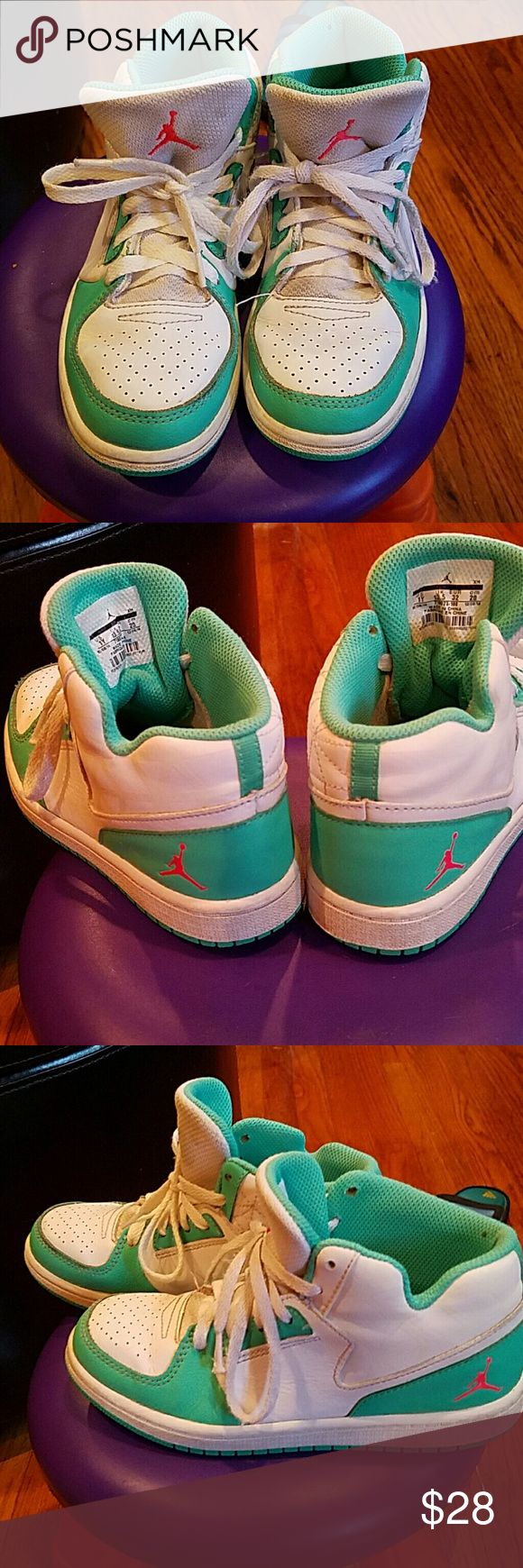Jordan Girl sneakers Girls teal and white sneakers. Great condition! Make me an offer! Jordan Shoes Sneakers