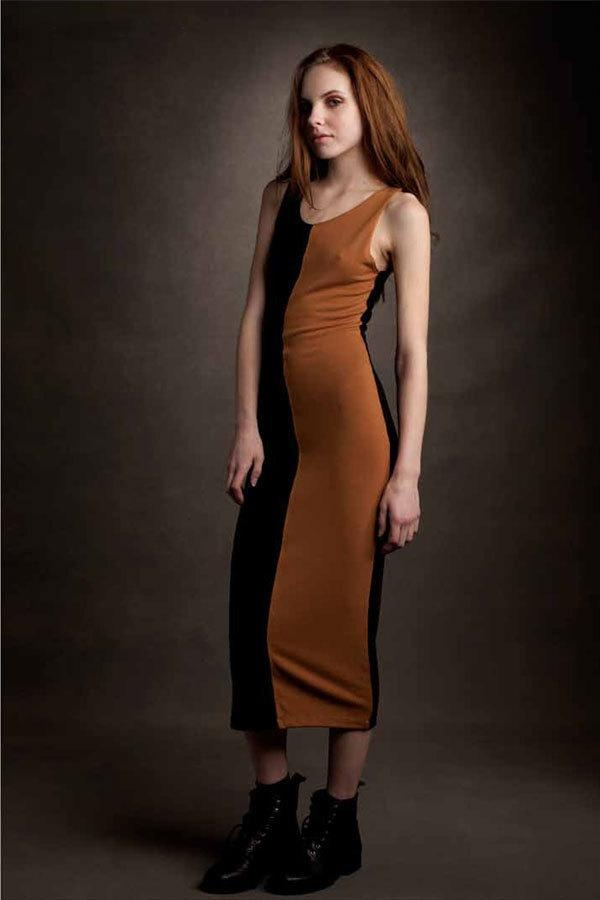 Lna two tone dress in black and caramel highlight