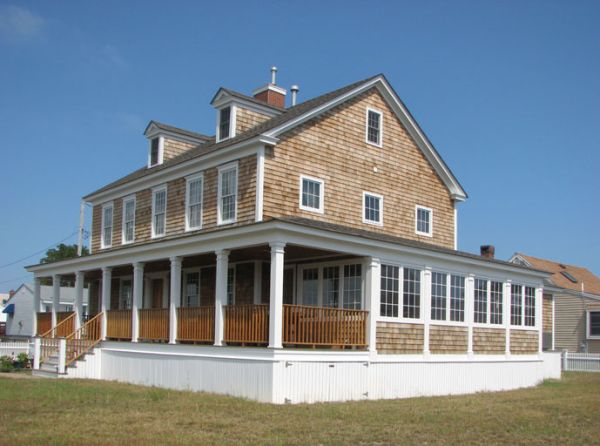 Added an almost wraparound porch and on the one side for Saltbox house plans with porch