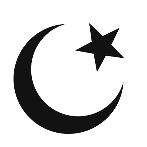 Star and crescent moon. Islam symbol. The moon represents Diana Goddess of the hunt and the star represents Mary, the mother of Jesus.