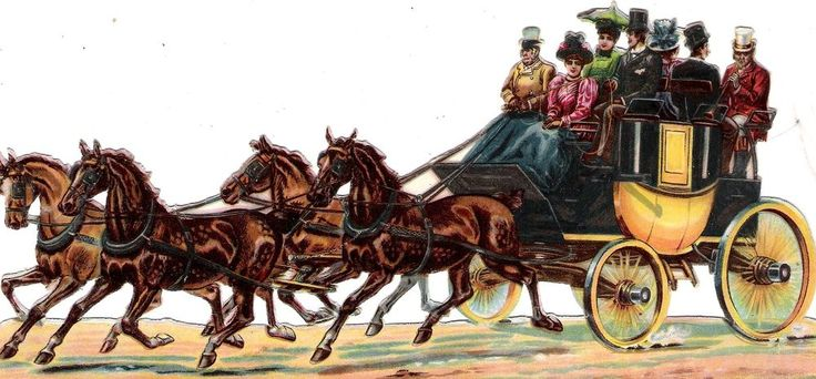 Oblaten Glanzbild scrap die cut chromo Kutsche 21,5cm coach ladies Pferd cheval