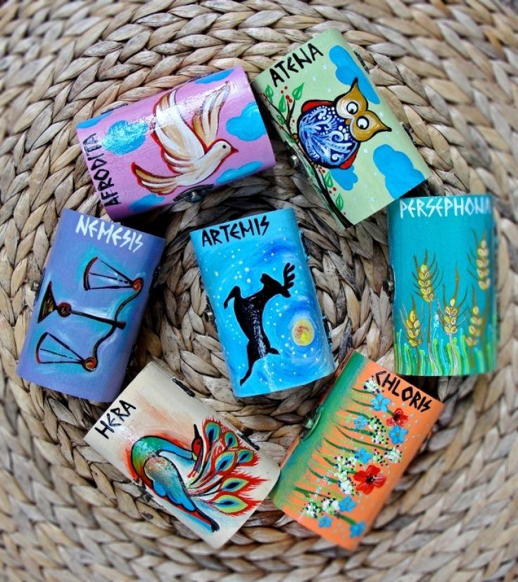 "Hand-painted jewelry boxes. Cutii pentru bijuterii ""Greek Gods"""