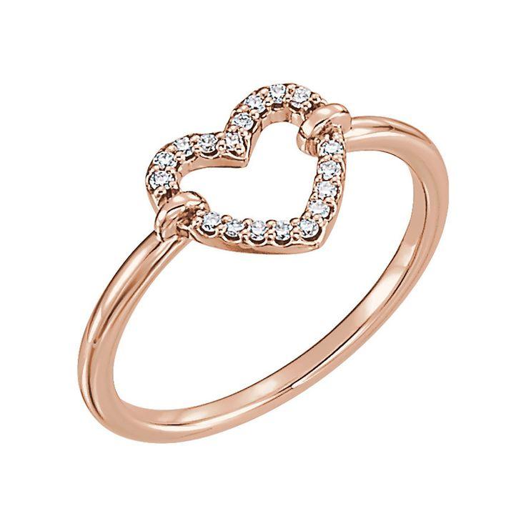 Anillo de oro rosa de 14 quilates con corazón abierto   – Gifts For Her