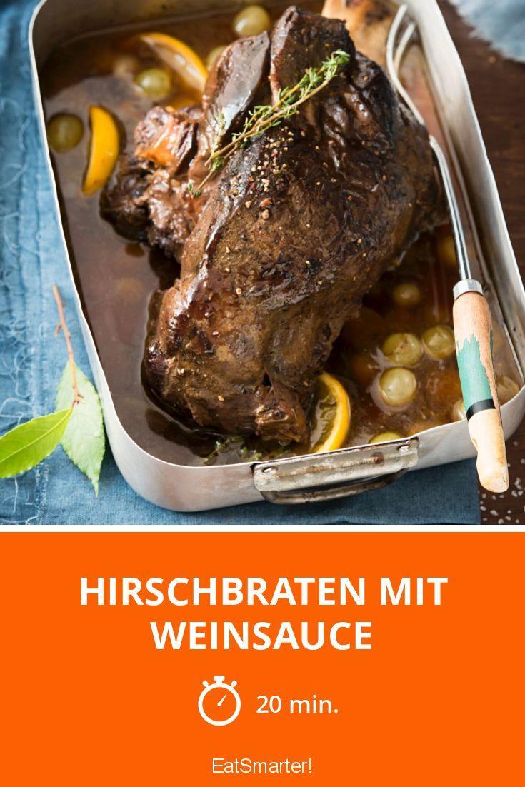 Hirschbraten mit Weinsauce |  http://eatsmarter.de/rezepte/hirschbraten-mit-weinsauce