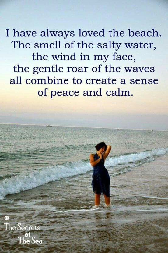 I have always loved the beach. The smell of the salty water, the wind in my face, the gentle roar of the waves all combine to create a sense of peace and calm