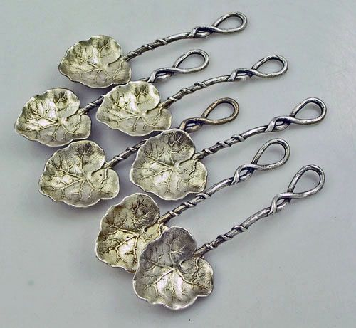 antique silver leaf form and twist spoons by mauser c. 1880's