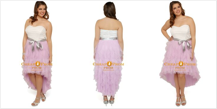 #Plus #Size #Cocktail #Dresses - Plus Size Prom Dress With Two Tone Detail And High Low Tendril Skirt Ruffled $ 136.99 -  Cheappromprom.com