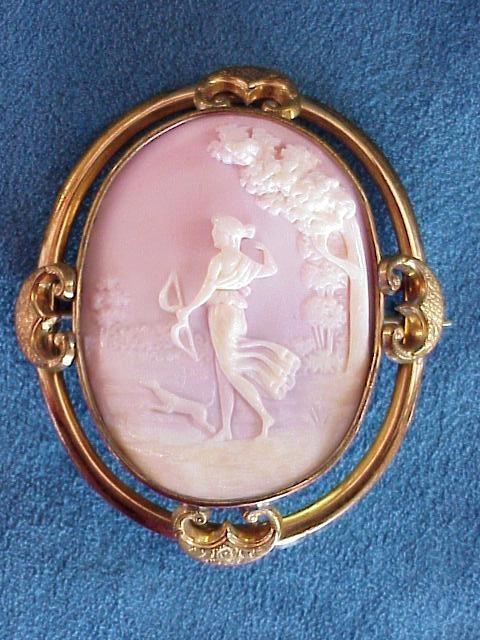 Antique pink cameo Italian goddess Diana and dog