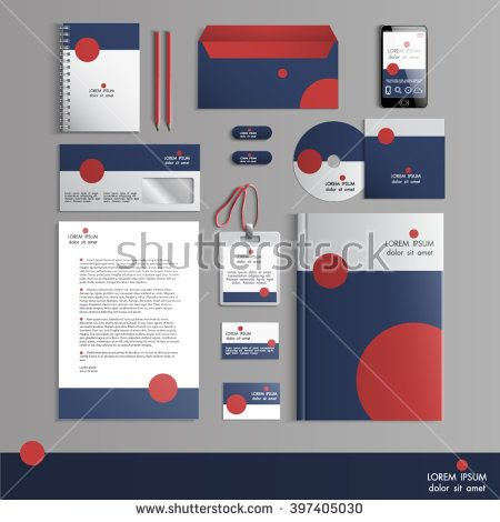 Grey corporate identity template with red round elements. Vector company  style for brandbook and guideline. EPS 10